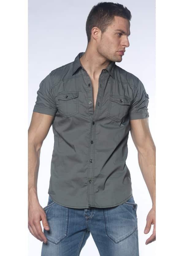 chemise-stretch-manches-courtes-unie-kaki